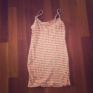 Small pink and white striped short dress stretchy